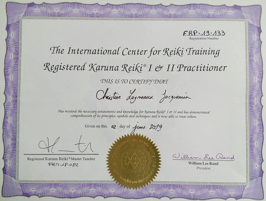 diplôme reiki Karuna